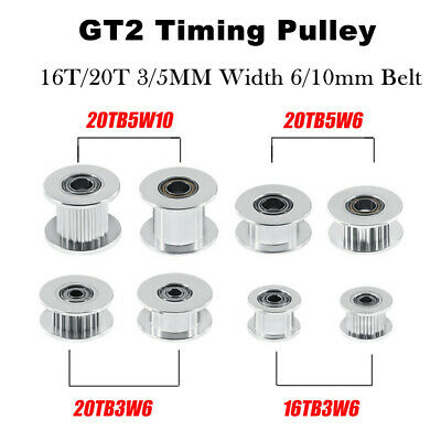5PCS GT2 Idler Timing Pulley 16/20 Tooth 3/5mm Bore For 6mm Belt 3D Printer