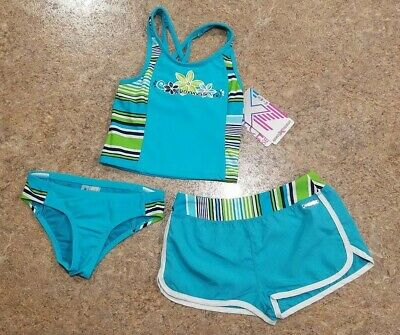 af33e7cae41ee ZEROXPOSUR GIRLS 3 pc. Top, Bottoms & Shorts Swimsuit Set Size 5 NWT ...