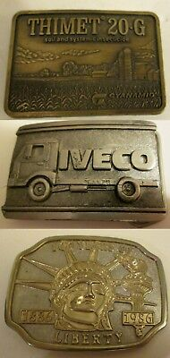 3 Vintage Belt Buckles Iveco Thimet Statue of Liberty RARE Brass Metal 70s 80s