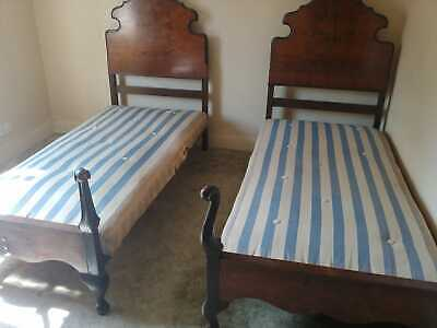 Pair of Antique SINGLE BEDS and original Mattresses