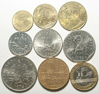A620 Francia, lote de 9 monedas - France nine coins lot