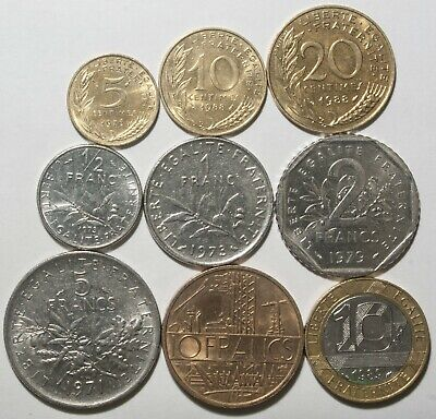 A621 Francia, lote de 9 monedas - France nine coins lot
