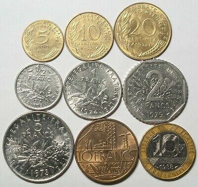 A622 Francia, lote de 9 monedas - France nine coins lot
