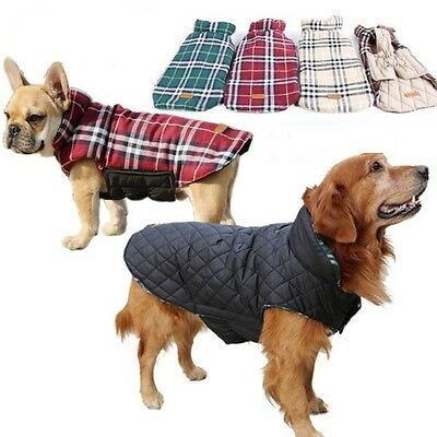 SMALL to EXTRA LARGE Waterproof Dog Warm 2 in 1 Coat Jacket Clothes Reversible