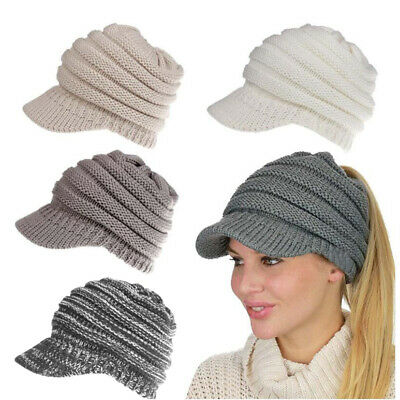 Lady Ribbed Knit Hat Beanie Tail Warm Knitted Messy High Bun Ponytail Visor Cap
