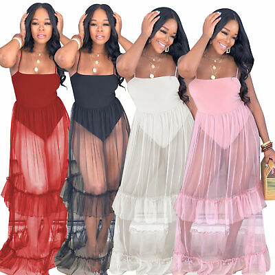 Women Sexy Spaghetti Strap Mesh Patchwork Ruffle Casual Summer Perspective Dress