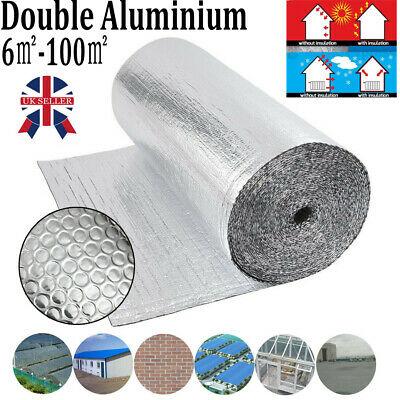 Silver Double Aluminium Bubble Foil Insulation Thermal Loft Van Shed 1.2M x 50M