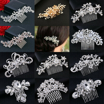 Wedding Hair Comb Gold Silver Rose Crystal Diamante Pearl Bridal Hair Comb/Clip