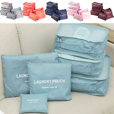 Pack of 6 Travel Storage Bags Clothes Packing Cube Luggage Organizer Pouch