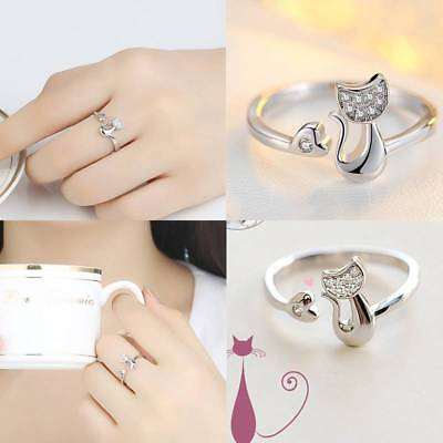 Women's Fashion Cat Open Kitten Ring Adjustable Plated Silver Crystal Party Gift