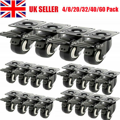 4-60X Heavy Duty 50mm 200KG Rubber Castor Wheels Swivel Trolley Caster Furniture