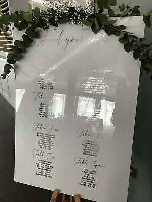 A1 White Gloss Acrylic Seating Plan Wedding Christening Party Occasion Handmade
