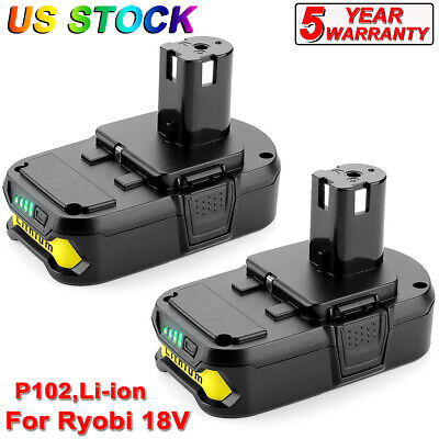 2X Battery For Ryobi ONE+P102 18 Volt 2500mAh Lithium Compact Battery P107 P109