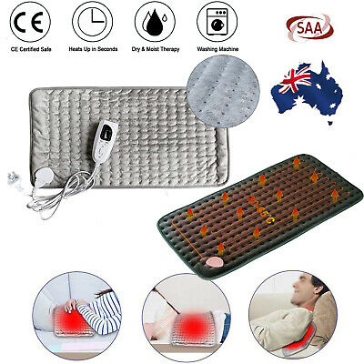 Electric Heating Pad Heat Therapy Fast Body Neck Pain Relief Auto Off Adjustable