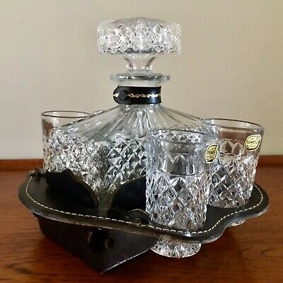 VINTAGE Bohemia GLASS DECANTER & 4 TUMBLERS Leather-Look VERMONT CADDY