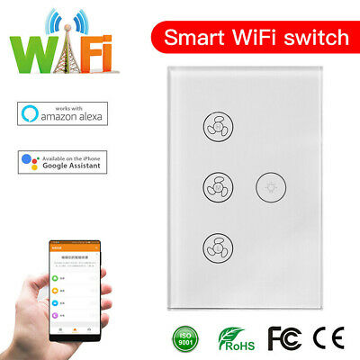 DIERYA WIFI Smart Ceiling Fan Wall Switch Touch Panel Fit For Alexa Google Home