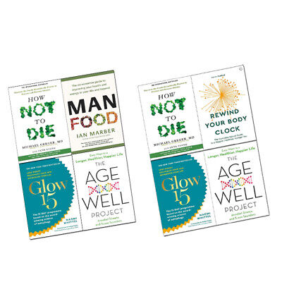 Age-Well Project,ManFood,Glow15,How Not to Die, Rewind Your Body Collections Set
