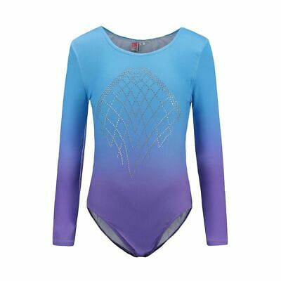 Kid Girl Long Sleeve Ballet Dance Bodysuit Gymnastic Leotards Dancewear 2-12Y AU