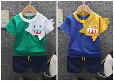 2pcs Boys summer cool outfits daily casual cotton Tee +short pants shark