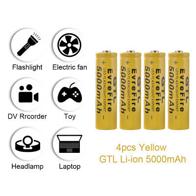 4x GTL 3.7V TR 18650 Battery Rechargeable High Li-ion 5000mAh for Lights RC1056