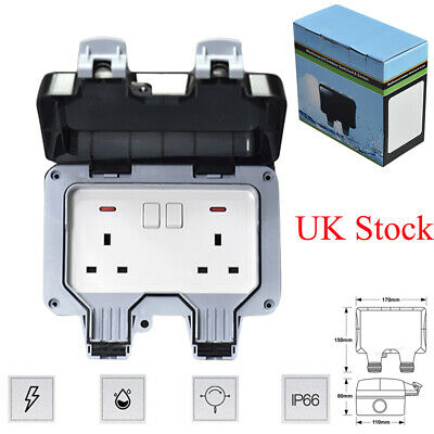 Waterproof Outdoor 13A 2Gang Storm Switched Socket Double IP66 Outside Use Tool
