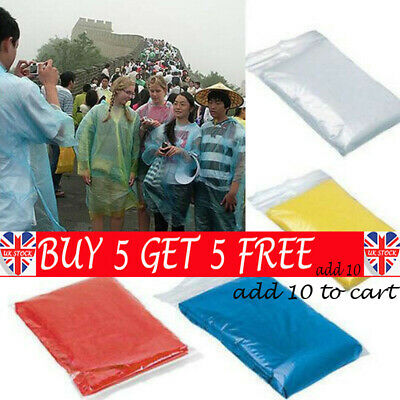 UK DISPOSABLE Poncho Rain Coat Festival Camping Emergency Waterproof Outdoor BE