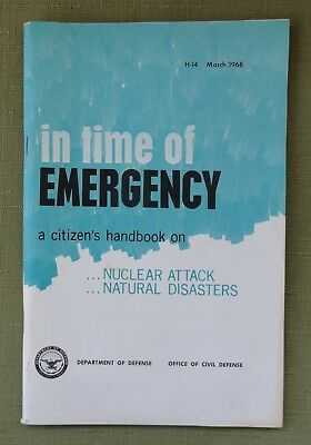 1968 Civil Defense Cold War Handbook In Time of Emergency ... Nuclear Attack