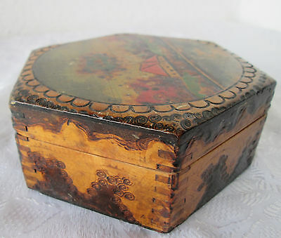 beautiful old  ANTIQUE vintage  hexagonal hand painted  WOODEN  box  pokerwork