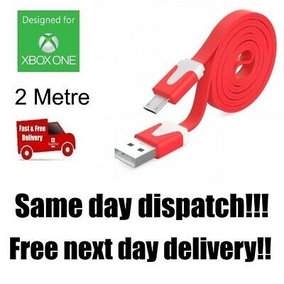 RED Xbox One Controller Charging Cable 2 Metre 2m Long Lead USB UK Stock   C107F