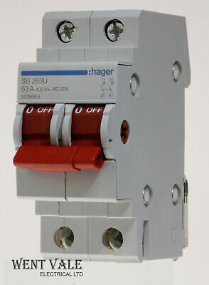 Hager SB 263U - 63a Double Pole Switch Disconnector Used