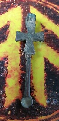 Viking bronze Cross Ear Scoop Pendant     9th-10th century AD