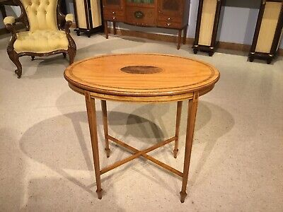 An Edwardian Period satinwood oval occasional table