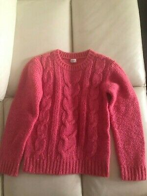 NEW Kids Girls Knit Sweater Pullover Top Size 8-9, Pink/Silver
