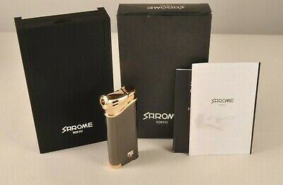 New Sarome Tokyo Side Flame Pipe Lighter in Box Bronze Butane Fill Electric