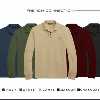 French Connection Long Sleeve Jersey Polo Soft Touch with Ribbed Cuffs for Men