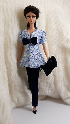 7f07832b1fd0 Handmade Sky Blue Flower Jeans Outfit Dress & Bag For Silkstone Model Muse  Doll