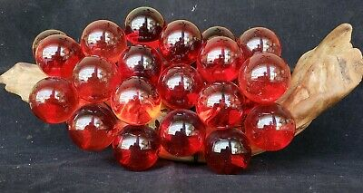 """Vintage Retro 1960s Acrylic Lucite Vibrant Red Grapes Cluster On Driftwood 14"""""""