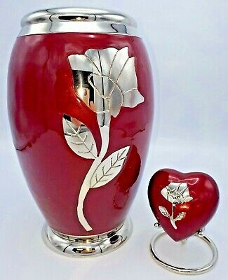Set of 2 Brass Cremation Urns for Ashes Adult & Keepsake - Red with Silver Rose