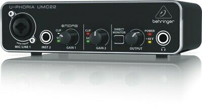 Behringer UMC22 Audiophile 2x2 USB Audio Interface with Midas Mic Preamplifier