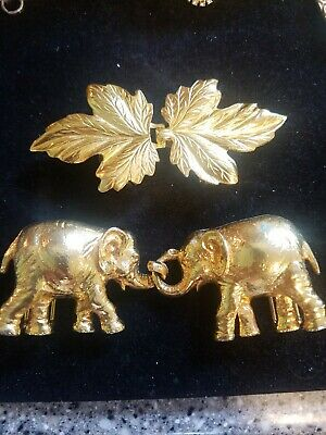 Lot Of 2 DOTTY SMITH gold Tone Belt Buckles Leaves And Elephants