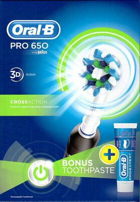 Braun Oral-B Pro 650 Black Cross Action Electrical Toothbrush + Toothpaste