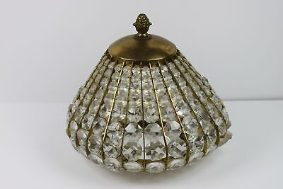 Vintage Crystal Beaded Dome Antique Brass Tone Light Fixture Cover