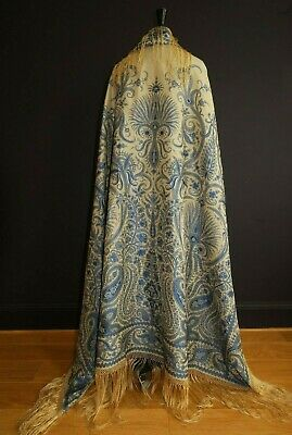 Exquisite Antique French Indienne Silk Damask  Paisley Shawl Colbalt Blue 1860'S