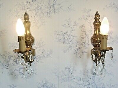 Beautiful Pair Vintage Traditional Cast Brass Single Crystal Wall Sconces 1295