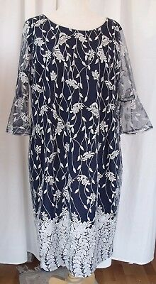 Jacques Vert SILVER EMBROIDERED NAVY NET & JERSEY ELENA SHIFT DRESS BELL SLEEVES
