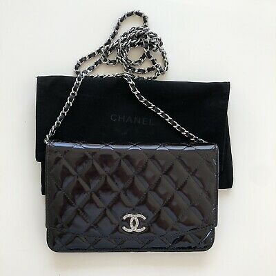 1c258cc3a3f5f7 CHANEL EAST WEST Womens Black Quilted Patent Wallet On Chain Clutch ...