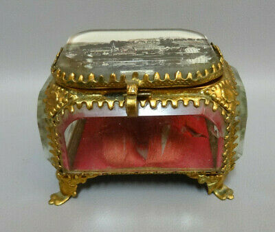 Antique French Brass & Glass Bevelled Trinket / Jewelry Box Bitche France