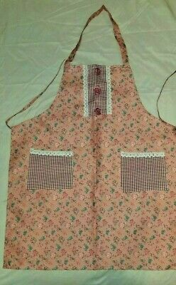 Cloth Apron, Pink Floral Print.Red Check, Lace Pockets. Fabric Roses Accents