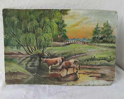 Antique painting > Pastoral Rural country landscape w/ cows river weeping willow