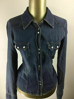 OLD NAVY Perfect Fit Button Down Med Wash Blue Jean Denim Shirt Women's Size S